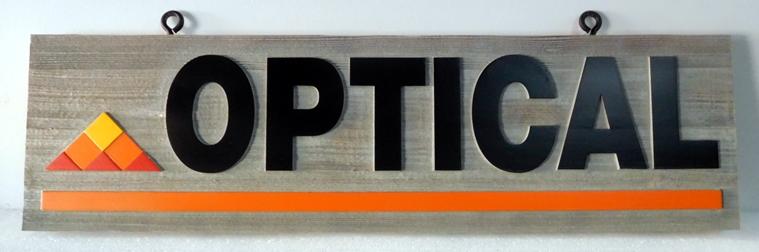 B11041- Carved, Cedar Wood for an Optical Office