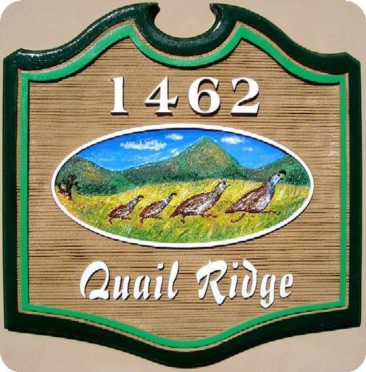 "O24632 - Sandblasted Address Sign for ""Quail Ridge"" with Carved California Quail Family"