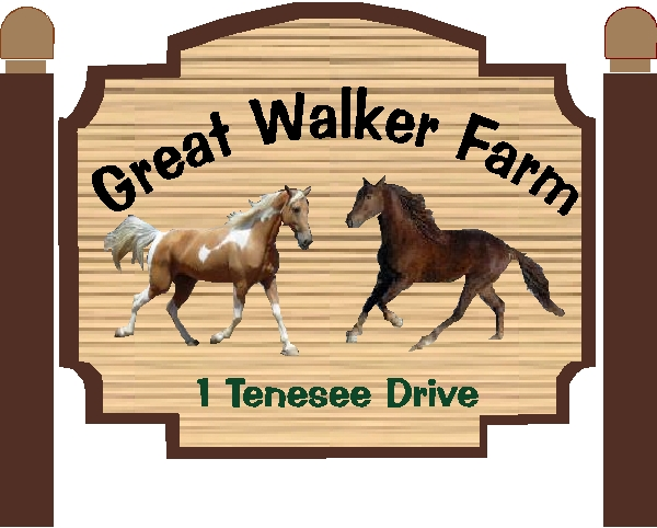 "P25118 - Design of Sandblasted Wood Look HDU Sign for ""Great Walker Farm"" with Two Stallions"