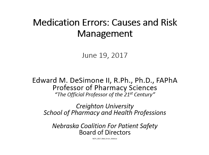 Medication Errors: Causes and Risk Management