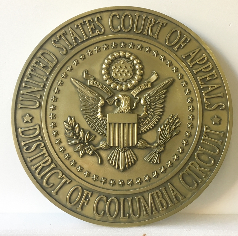 U30165 - 3-D Brass Wall Plaque of the Seal of the US Court of Appeals, District of Columbia Circuit