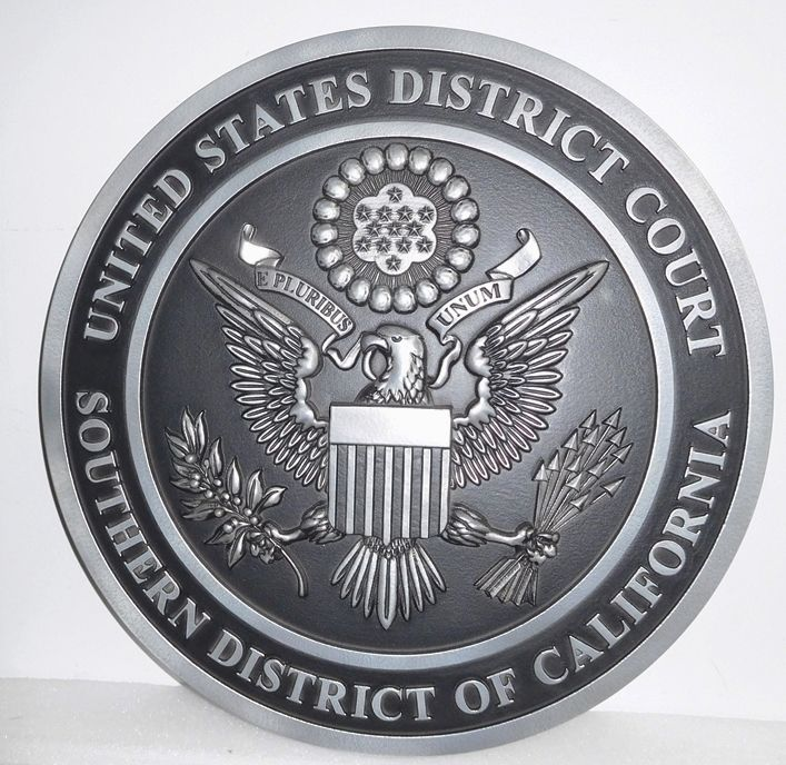 A10828 - Carved Nickle-Silver Wall Plaque for the US District Court for the Southern District of California