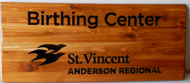 "B11242 - Engraved cedar sign  ""Birthing Center"" gives a rustic, natural look"