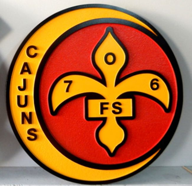"""LP-2676 - Carved Round Plaque of the Crest of the 706th  Fighter Squadron """"Cajuns"""",  Artist Painted"""
