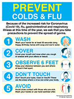 "24"" x 18"" Prevent Colds, Flu, & Corona-virus Posters"