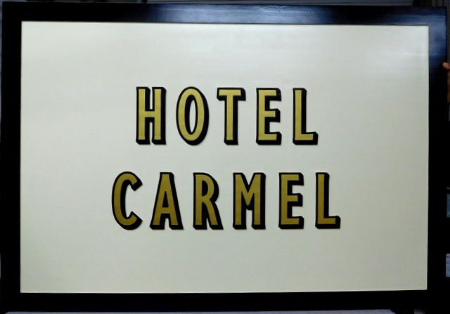 "T29113- Carved  a HDU Sign for the ""Hotel Carmel"""