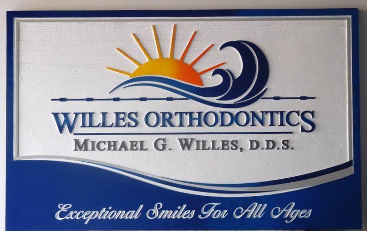 BA11545 - Carved HDU Sign for the  Office of Willes Orthodontics,  2.5-D , Artist-Painted with Surf and Setting Sun as Artwork