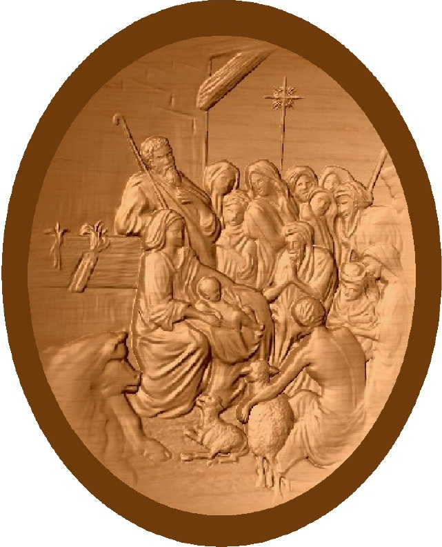 D13354 - Copper-gilded carved bas-relief Mahogany  plaque of Manger Scene