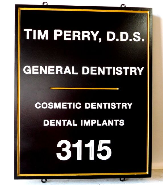 BA11559 - Engraved General  Dentistry Office Sign with Address Street Number