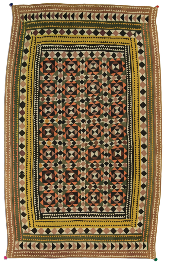 Ralli quilt, Meghwar People, probably made in Hyderabad, Sindh, Pakistan, circa 1950-1960, 84.5 x 48.5 in, IQSCM 2005.035.0002