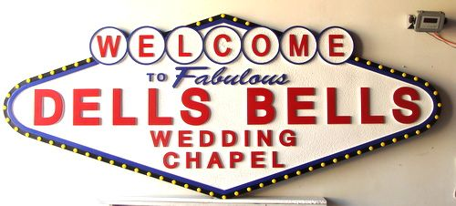 S27995 - Carved HDU Las Vegas-style Sign with Carved Raised Text and Borders for a Wedding Chapel