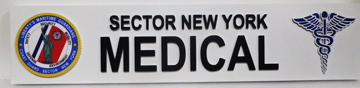 B11091 - Carved  Sign for the US Coast Guard's Sector New York Medical Office, 2,5-D Artist-Painted