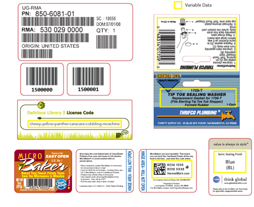 Sequentially numbered labels