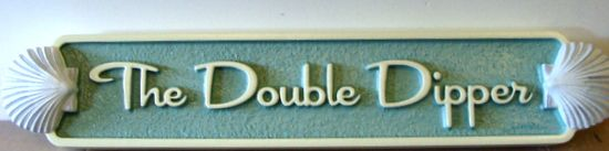 """L21884 - Quarterboard for Beach House with 3-D Shells, the """"Double Dipper"""""""