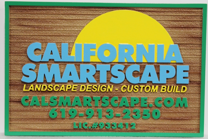 "S28144 - Carved and Sandblasted Wood Grain HDU sign  for the ""California Smartscape"" company"