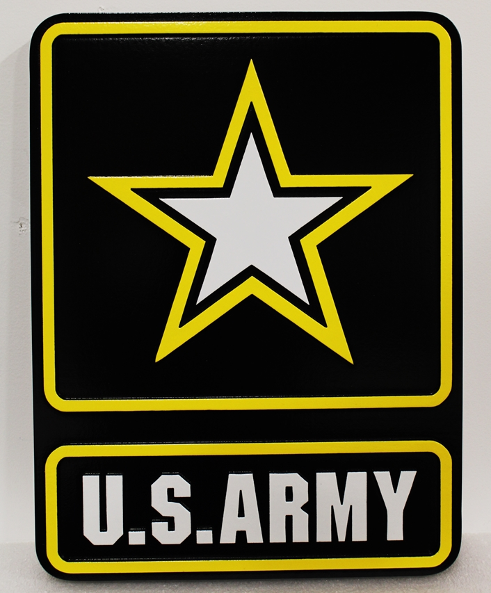 MP-1165 - Carved Plaque of US Army Star Emblem, 2.5-D Raised Relief, Artist-Painted