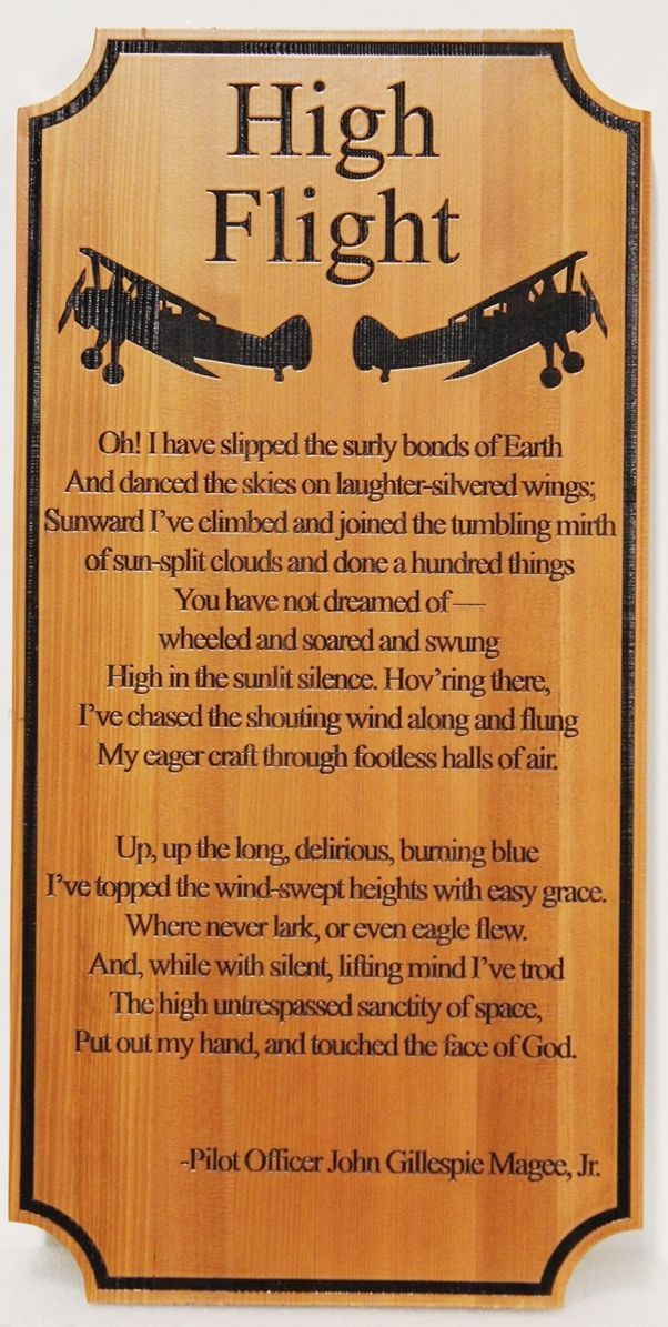 "JP-1655 - Engraved Redwood Wall Plaque of the Famous Poem ""High Flight"", by by Pilot Officer John Gillespie McGee, Jr. of the Royal Canadian Air Force"
