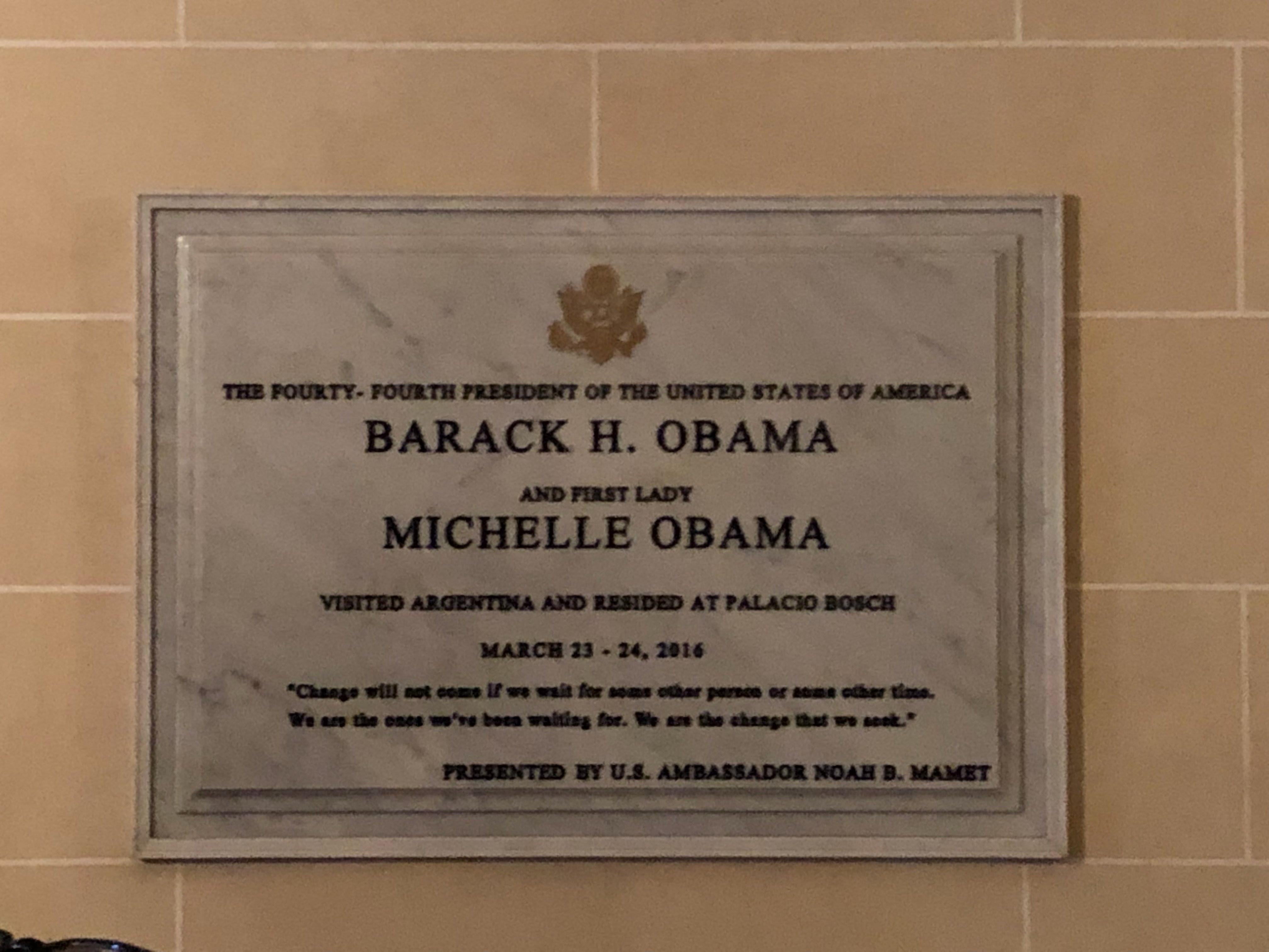 Plaque for President Obama & Michelle Obama
