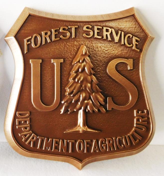 U30459 -  - US Forest Service Emblem Carved Wall Plaque, Bronze-Plated