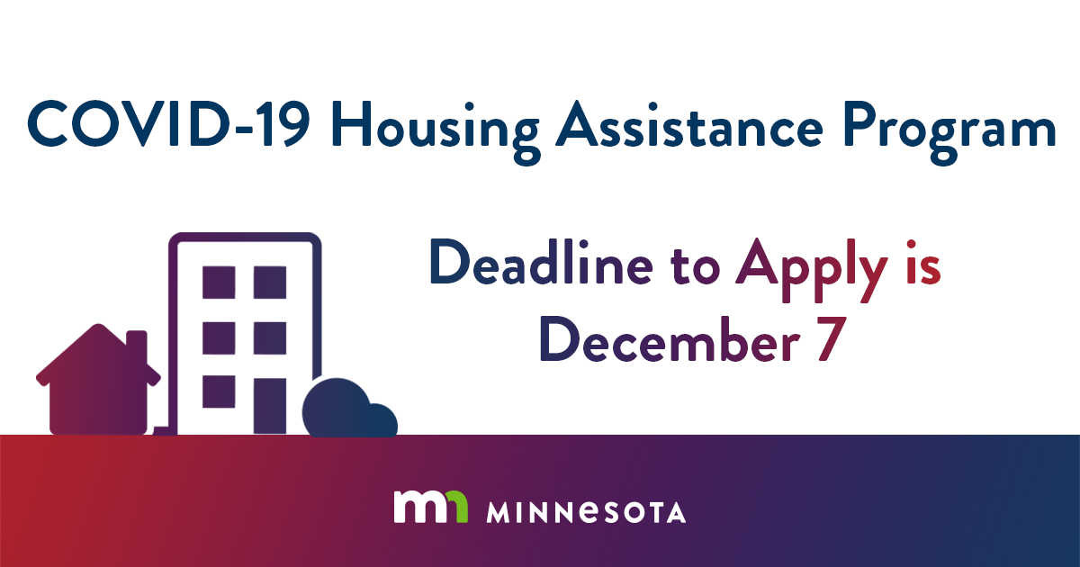 Deadline to apply for CHAP funds (COVID-19 Housing Assistance Program) is Monday, December 7, 2020