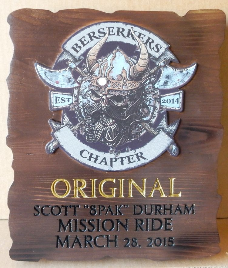 G13342 - Carved, Cedar Wood Plaque Congratulating the Winner of a Motorcycle Club Race