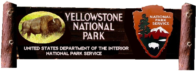 G16004 - Wooden National Park  Entrance Sign with Painted Bison