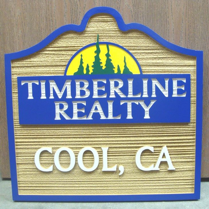 C12324 - Carved and Sandblasted HDU Realtor Sign, Raised Text, Art and Border and  Wood Grain Background