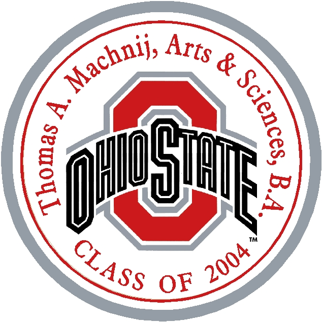 Y34117 -  Carved 2.5D Flat Relief Wall Plaque of the Logo of Ohio State University