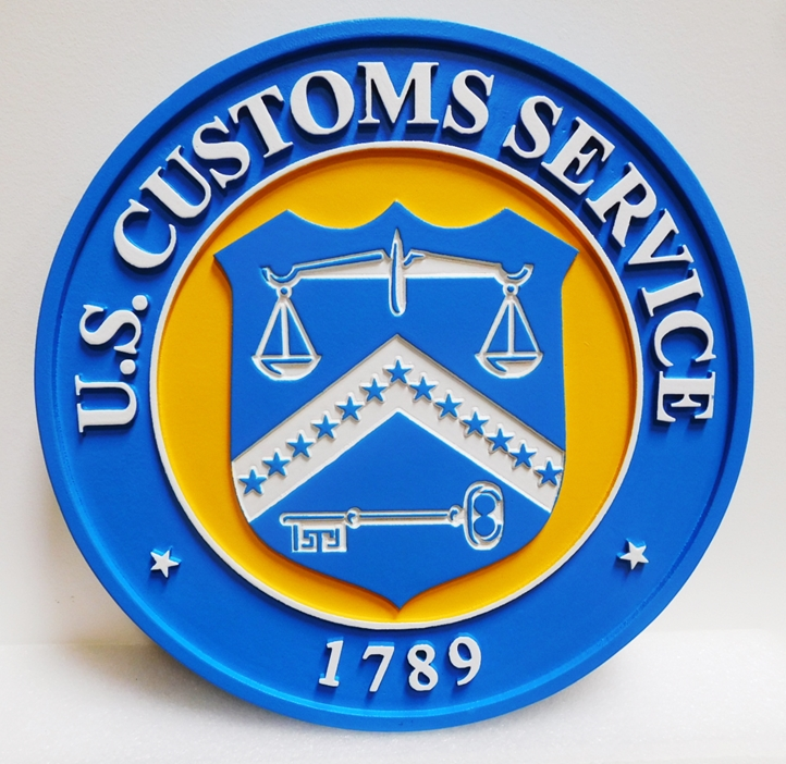 AP-4695 - Carved Plaque of the Seal of the U.S. Customs Service, 2.5-D Engraved Artist-Painted