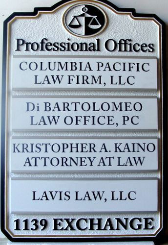 A10615 - Law Office Wall Directory Sign with Replaceable Nameplates