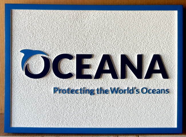 "S28081 - Carved Sandstone-Texture HDU Sign for ""Oceana- Protecting the Earth's Oceans,""  with Dolphin Logo"