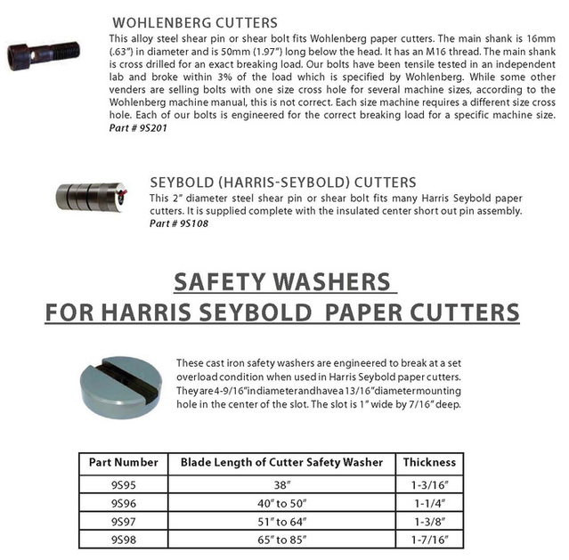 Wohlenberg, Seybold, Harris Seybold shear pins and shear bolts, Safety Washers for Harris Seybold