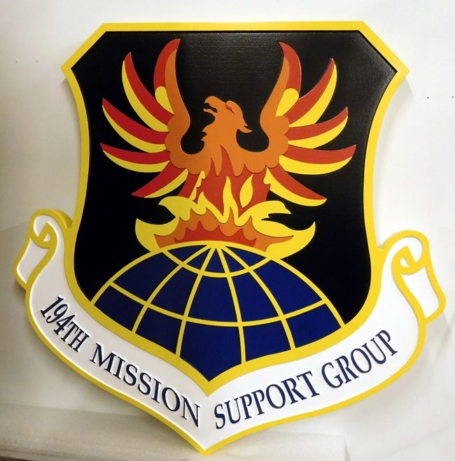 V31621A - Wall Plaque of the Crest for the  USAF 194th Mission Support Unit