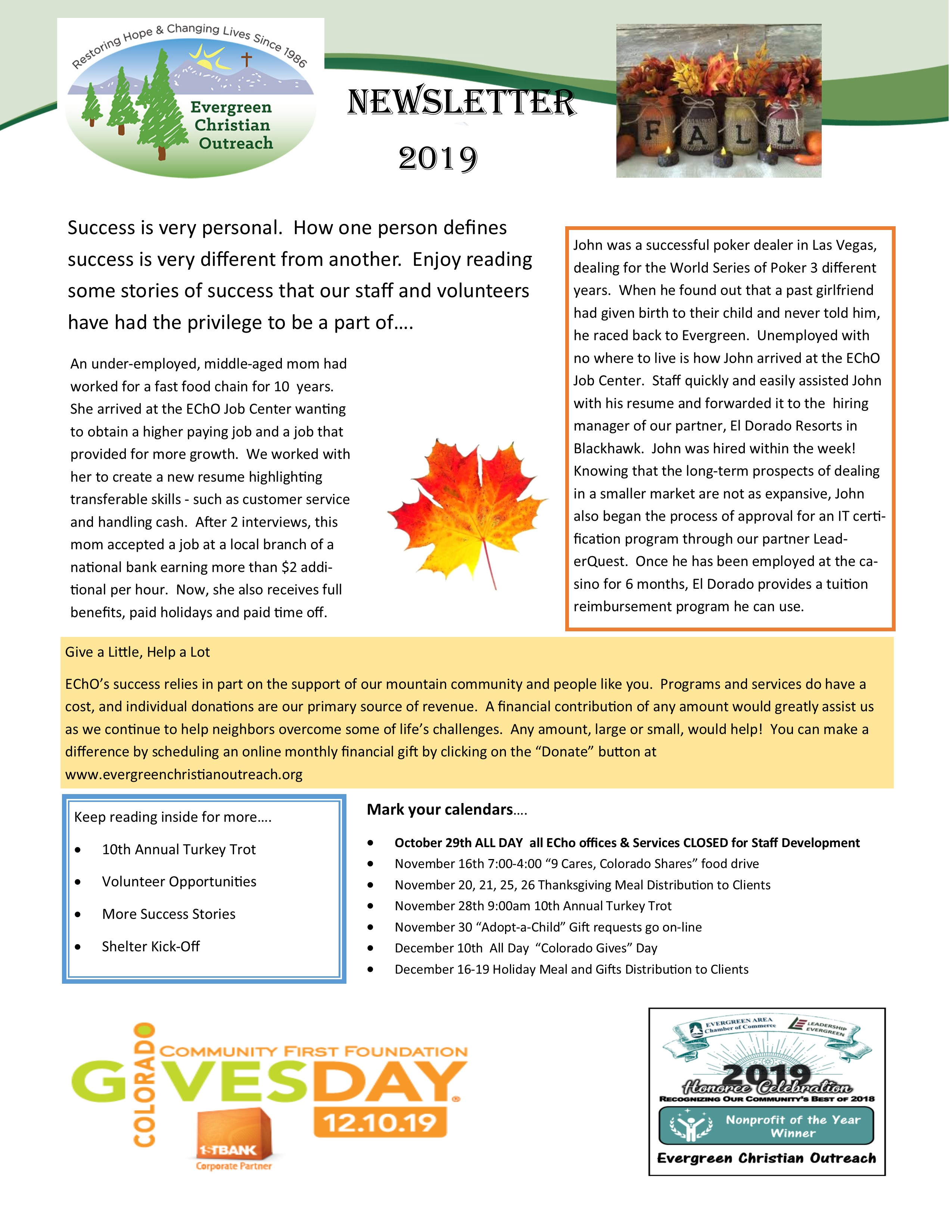 2019 Fall Newsletter