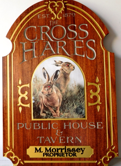 M3035 - Carved Mahogany Wood Sign for Public House and Tavern with Hare and 24K Golf-Leaf Gilded Decor and Border (Gallery 27)