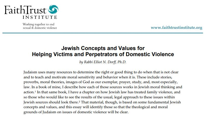 Jewish Concepts and Values for Helping Victims and Perpetrators of Domestic Violence