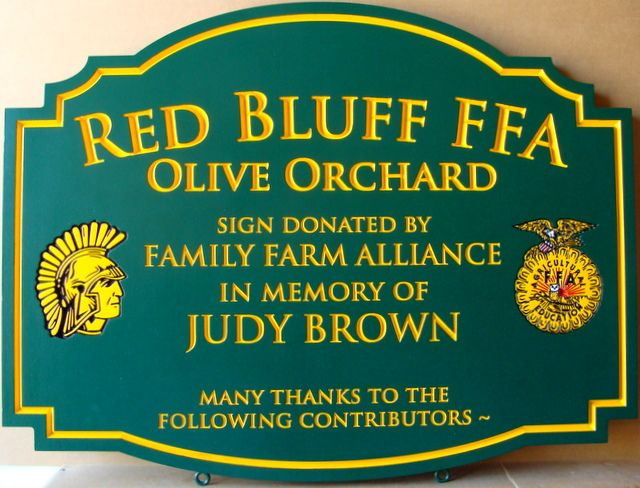 O24021 -  Engraved HDU Sign for the  Red Bluff FFA Olive Orchard