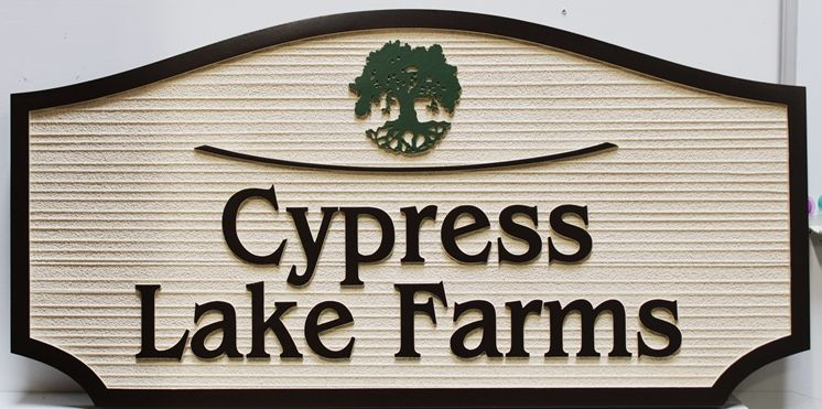 """O24887 - Carved  & Sandblasted Wood Grain   Sign for """"Cypress Lake Farms"""", with a Cypress Tree as Artwork."""
