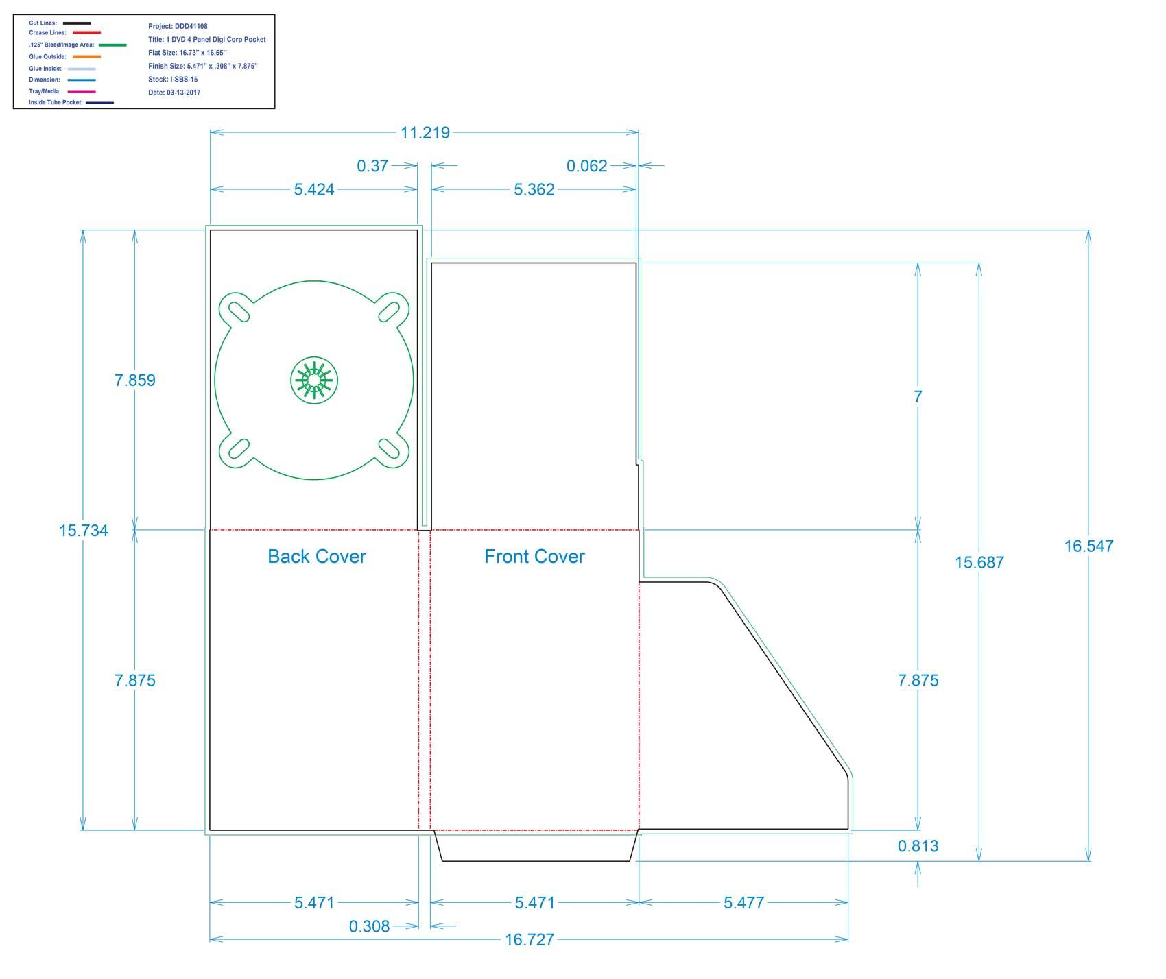 DDD41108 - 4 Panel One Tray Corp Pocket Oversize