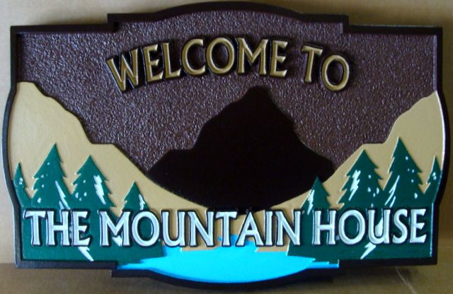 "M22209 - Carved and Sandblasted  ""Welcome to the Mountain House"" Sign with  Mountain,  Lake and Trees"
