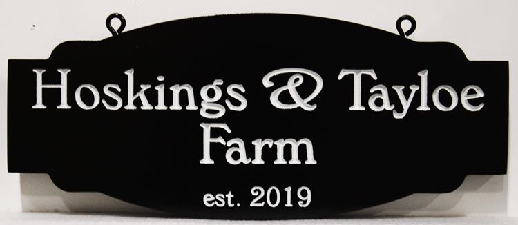 "O24064 - Carved and Engraved  High-Density-Urethane (HDU) Hanging  Entrance Sign for the ""Hoskings & Taylor Farm"""