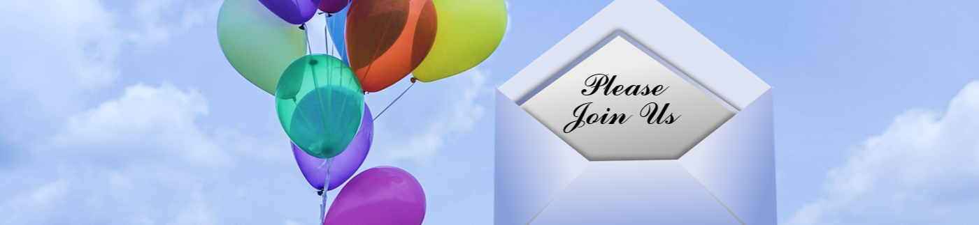 Invitation with Balloons in the Sky