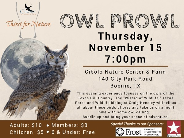 CNC: a Thirst for Nature event - Owl Prowl