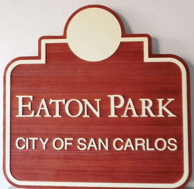 GA16471 - Carved, Wood Grain HDU Sign for a City Park