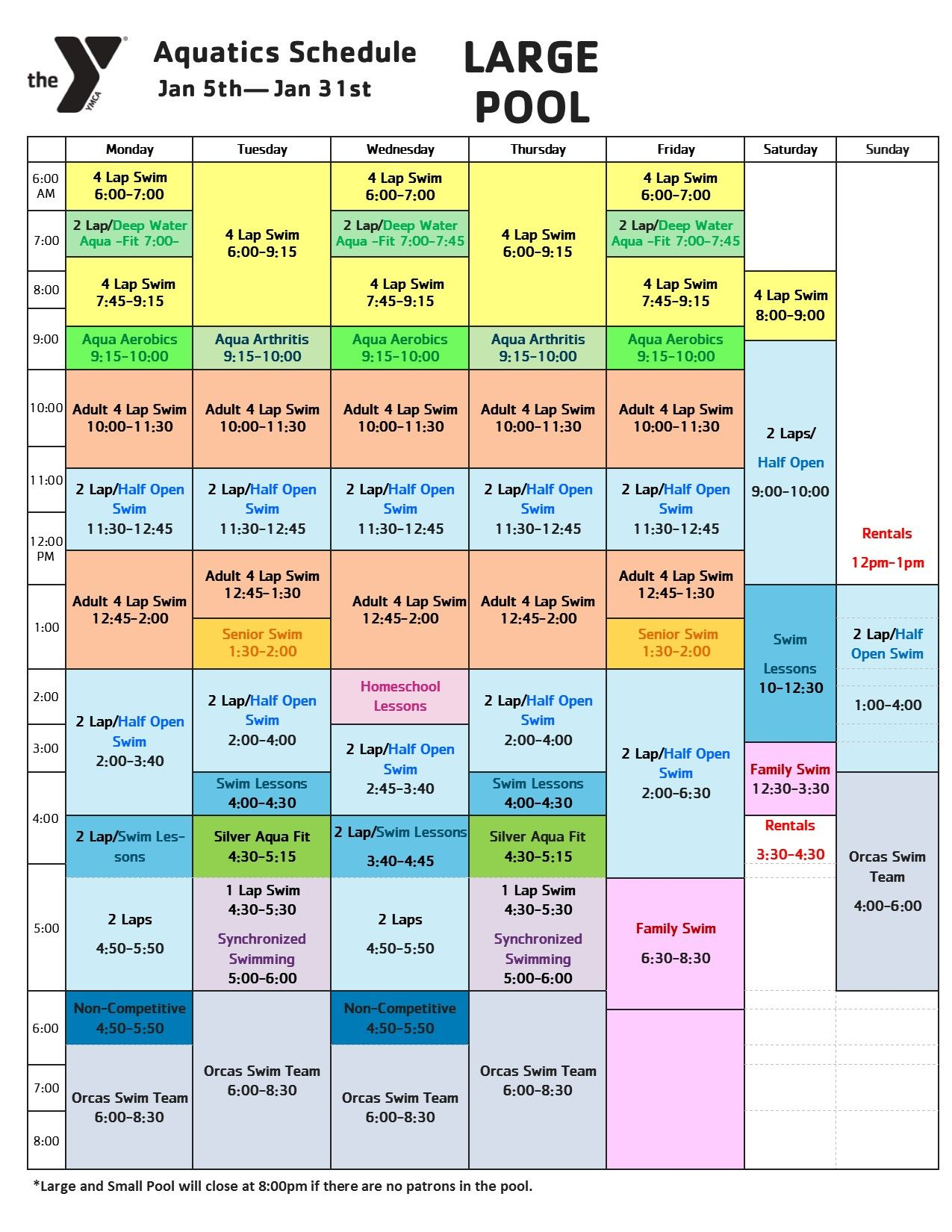 January Pool Schedule
