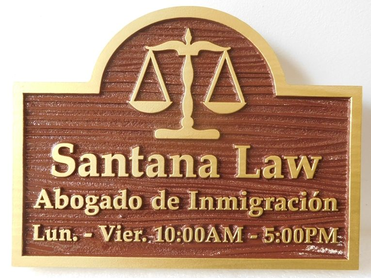 A10028 - Sandblasted in a Wood Grain Pattern, Carved HDU Sign for an Abogado de Immigracion Law Firm with Scales of Justice