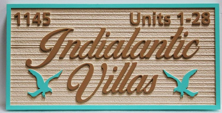 "K20406 - Carved High-Density-Urethane (HDU) Entrance Sign for the ""Indialantic Villas"" Residential Community"
