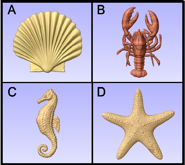 L22040 - 3-D Carved Marine Animals (Seahorse, Starfish, Shell and Lobster)