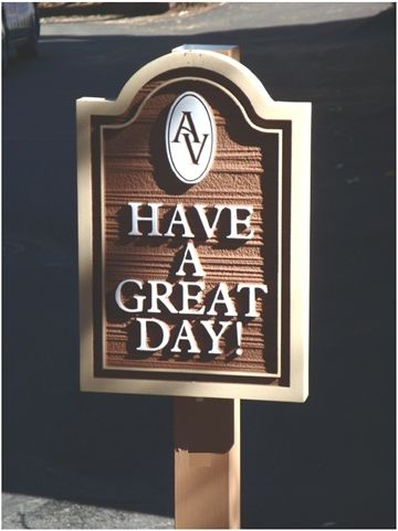 """KA20632 - Carved Wood Grain  Apartment Complex Exit Sign """"Have a Great  Day"""" with Carved Apartment  Logo"""