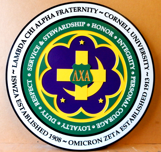 Y34506 - Carved 2.5-D Wall Plaque for Lambda Chi Alpha Fraternity